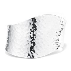 Sterling Silver Hammered Wave Cuff Bracelet