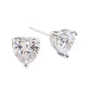 DiamonArt® Sterling Silver Heart Cubic Zirconia Stud Earrings