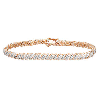 T W Genuines Diamond 10k Gold Tennis Bracelet