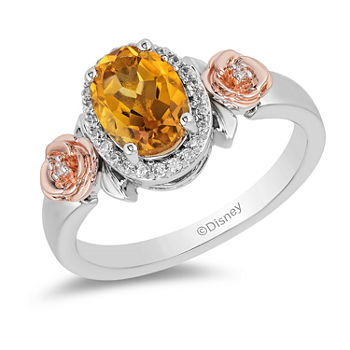 Enchanted Disney Fine Jewelry Womens Genuine Yellow Citrine 14K Rose Gold Over Silver Beauty and the Beast Cocktail Ring