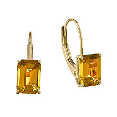 Emerald-Cut Genuine Citrine 14K Yellow Gold Leverback Earrings