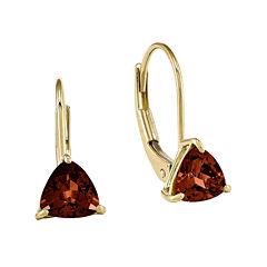Genuine Garnet 14K Yellow Gold Trillion-Shaped Earrings
