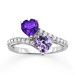 Genuine Amethyst & Lab-Created White Sapphire Double Heart Bypass Ring in Sterling Silver