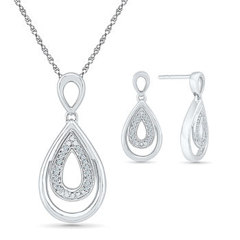 Genuine White Diamond Sterling Silver 2-pc. Jewelry Set