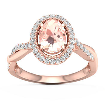 Womens 1/2 CT. T.W. Genuine Pink Morganite 10K Gold Cocktail Ring