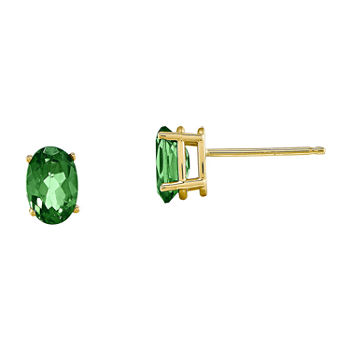 Genuine Emerald 14K Yellow Gold Stud Earrings