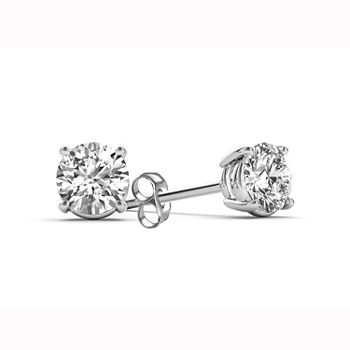 Classic Collection 1/2 CT. T.W. Genuine White Diamond 10K White Gold 3.8mm Stud Earrings