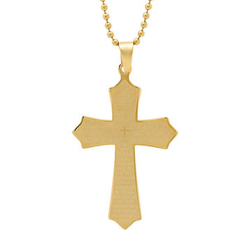 Steeltime Lord'S Prayer Mens 18K Gold Stainless Steel Cross Pendant Necklace