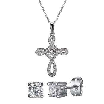 DiamonArt® Lab Created White Cubic Zirconia Sterling Silver Cross 2-pc. Jewelry Set