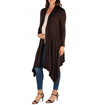 24/7 Comfort Apparel Womens Extra Long Open Front Cardigan