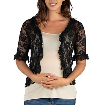 24/7 Comfort Apparel Womens Ruffle Black Lace Bolero Shrug