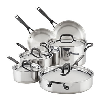 Kitchen Aid 5-Ply Clad Stainless Steel 11-pc. Cookware Set