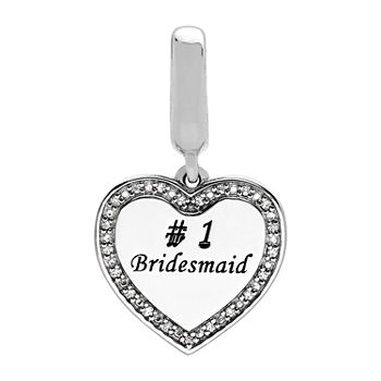 "PS Personal Style ""#1 Bridesmaid"" White Cubic Zirconia Heart Charm"