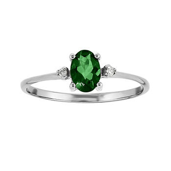 Genuine Emerald Diamond-Accent 14K White Gold Ring