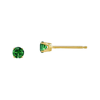 3mm Round Genuine Emerald 14K Yellow Gold Earrings