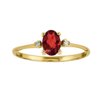 Fine Jewelry Womens Diamond Accent Red Garnet 14K Gold Cocktail Ring