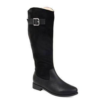 39f82023aab Journee Collection Womens Frenchy Extra Wide Calf Stacked Heel Zip Riding  Boots