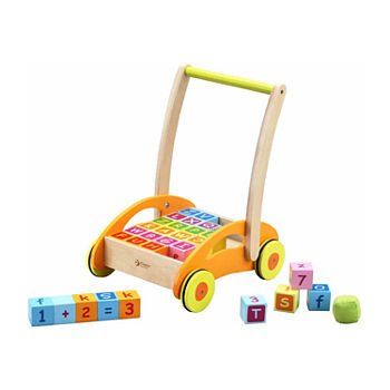 Classic Toy Wooden Baby Walker With Blocks