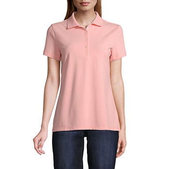 St. John's Bay Tall Womens Short Sleeve Knit Polo Shirt
