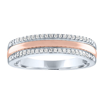 Limited Time Special! Womens 1/10 CT. T.W. Genuine Diamond 14K Rose Gold Over Silver Sterling Silver Stackable Ring