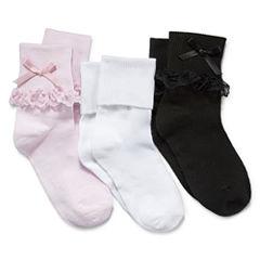 Jacques Morét 3-pk. Lace-Trim Dress Socks – Girls