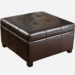 Attaway Bonded Leather Storage Ottoman