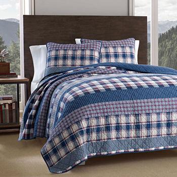 product bath in bed bauer set reg rugged plaid blue eddie beyond comforter store