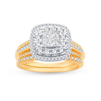 Limited Edition! Womens 1 CT. T.W. Genuine White Diamond 10K Gold Bridal Set