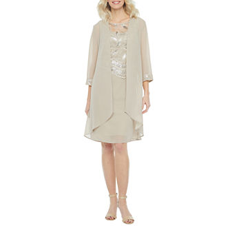 Maya Brooke 3/4 Sleeve Embroidered Jacket Dress