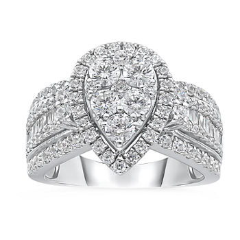 Womens 2 CT. T.W. Genuine White Diamond 10K White Gold Engagement Ring