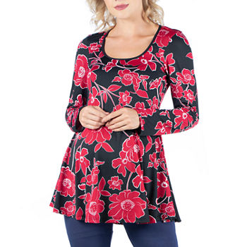 24/7 Comfort Apparel Long Sleeve Solid Swing Flare Tunic Top