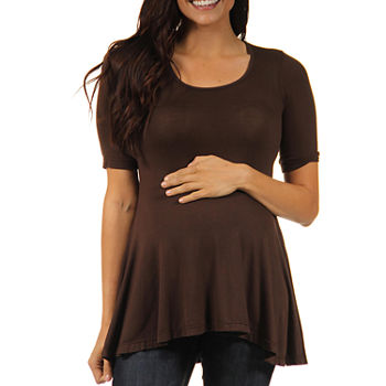 24/7 Comfort Apparel-Maternity Womens Scoop Neck Short Sleeve Tunic Top