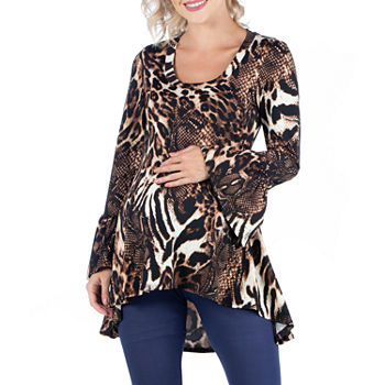 24/7 Comfort Apparel-Maternity Womens Scoop Neck Long Sleeve Tunic Top