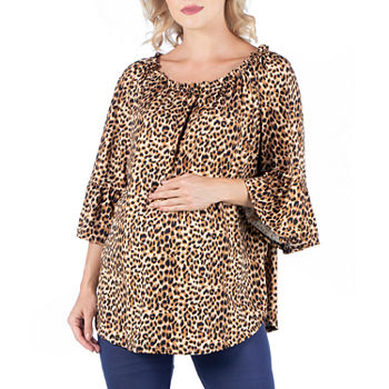 24/7 Comfort Apparel-Maternity Womens Round Neck 3/4 Sleeve Tunic Top
