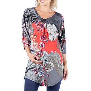 24/7 Comfort Apparel-Maternity Womens Scoop Neck 3/4 Sleeve Tunic Top