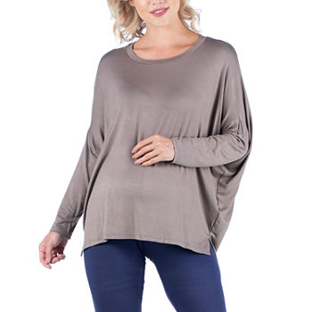 24/7 Comfort Apparel-Maternity Womens Round Neck Long Sleeve Tunic Top
