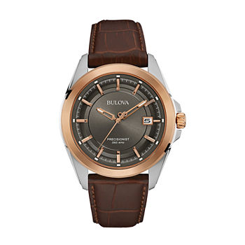 Bulova Precisionist Mens Brown Leather Strap Watch-98b267