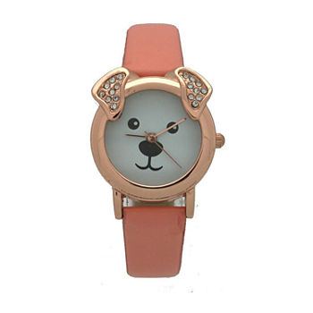 Olivia Pratt Dog Womens Gold Tone Strap Watch-H10046peach