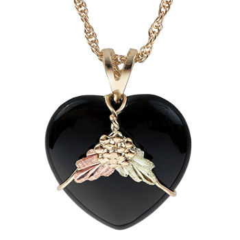 Black Hills Gold Womens Black Onyx 10K Tri-Color Gold Heart Pendant