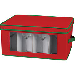 Household Essentials® Red Holiday Goblet Stemware Storage Chest