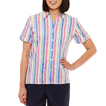 Front Tie Striped Short Sleeve Shirt Timing Visit XWw9HHQ6