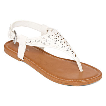 499747ba3 Flat Sandals White Women s Sandals   Flip Flops for Shoes - JCPenney