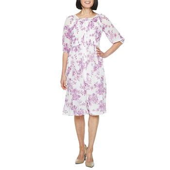 Danny & Nicole 3/4 Sleeve Floral Dot Fit & Flare Dress