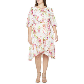 Danny & Nicole-Plus 3/4 Sleeve Floral High-Low Fit & Flare Dress