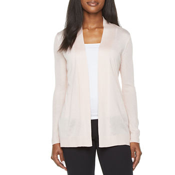 Liz Claiborne-Tall Womens Long Sleeve Open Front Cardigan