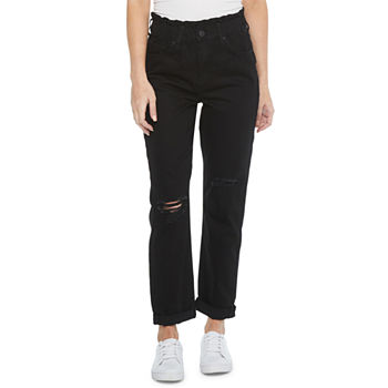 Ymi Womens Juniors High Rise Straight Cinched Waist Relaxed Fit Jean