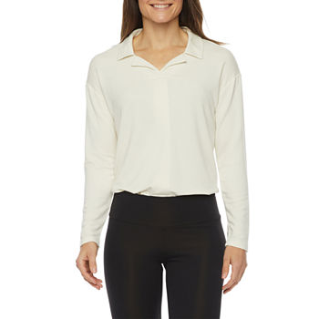 Stylus Womens Long Sleeve French Terry Polo Shirt