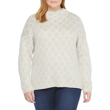 Liz Claiborne-Plus Womens Mock Neck Long Sleeve Diamond Pullover Sweater