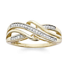 1/7 C.T. T.W. Diamond 10K Yellow Gold Criss-Cross Ring
