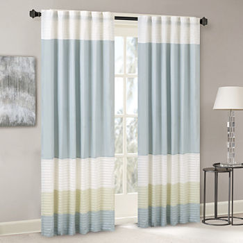 Madison Park Chester Energy Saving Light-Filtering Rod-Pocket Single Curtain Panel